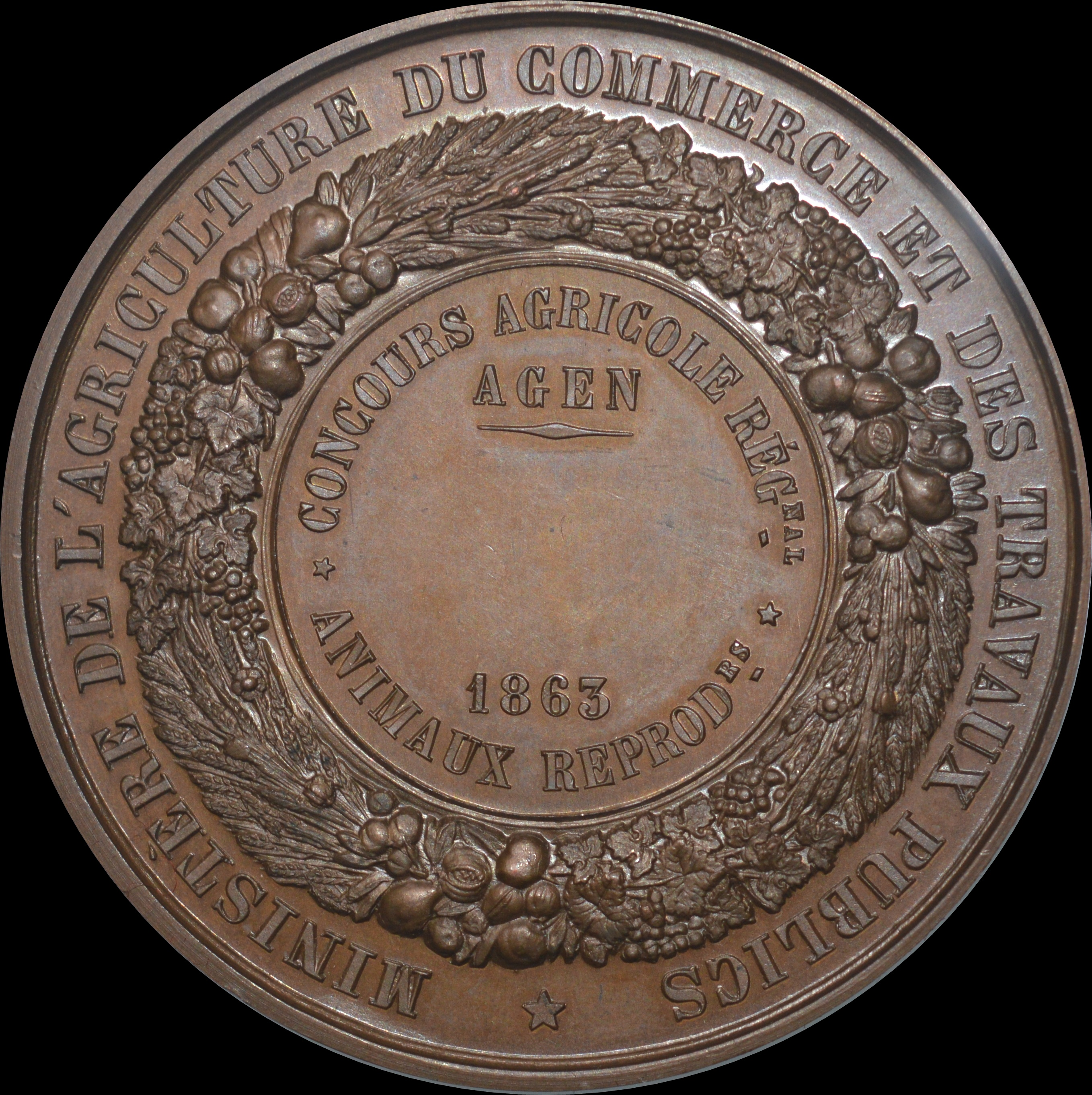 Napoleon III - 1863 Agen Agricultural medal for Breeding Animals. by Caque