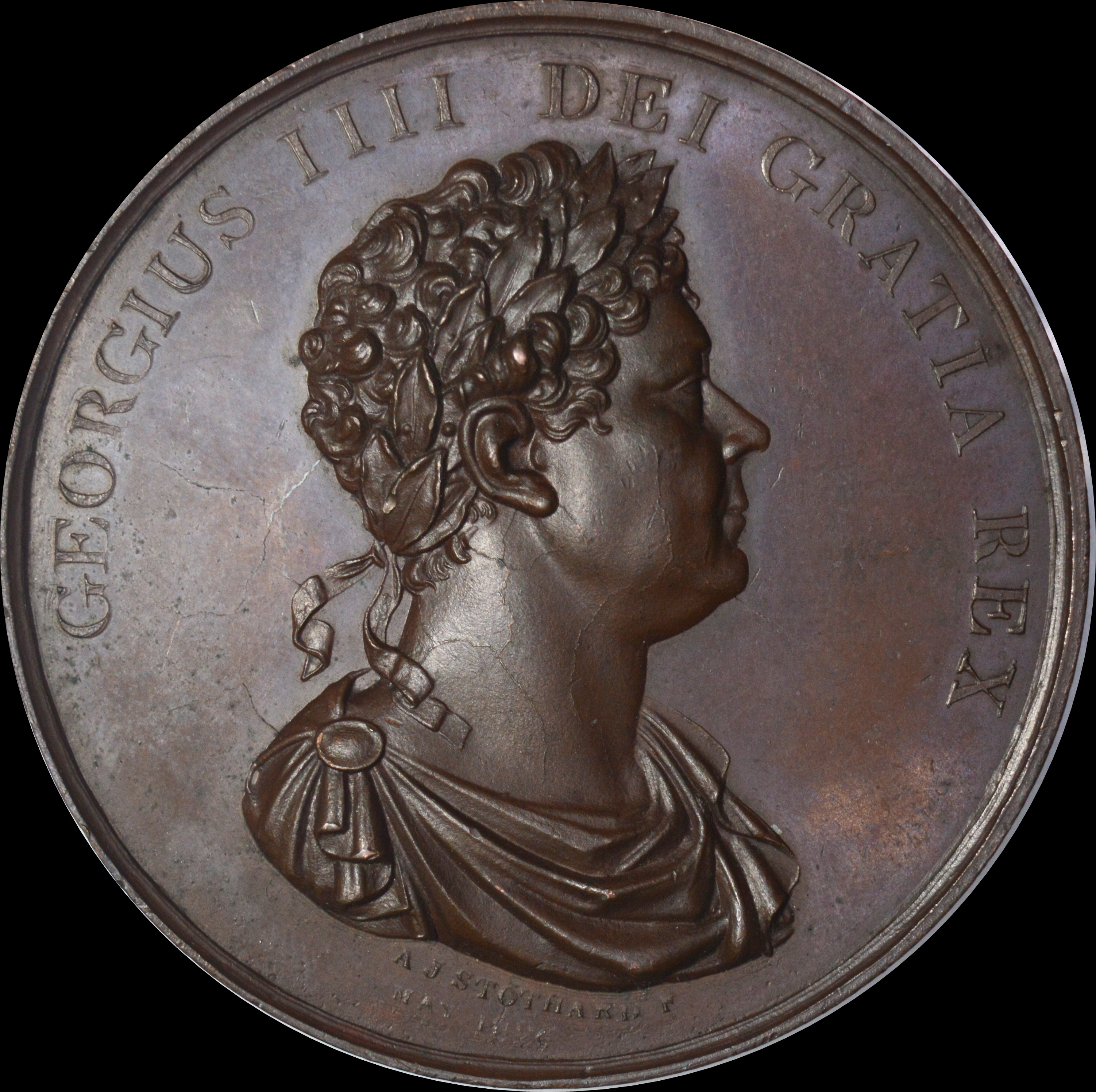 England - Death of George IV 1830 Bronze Memorial medal By Stothard