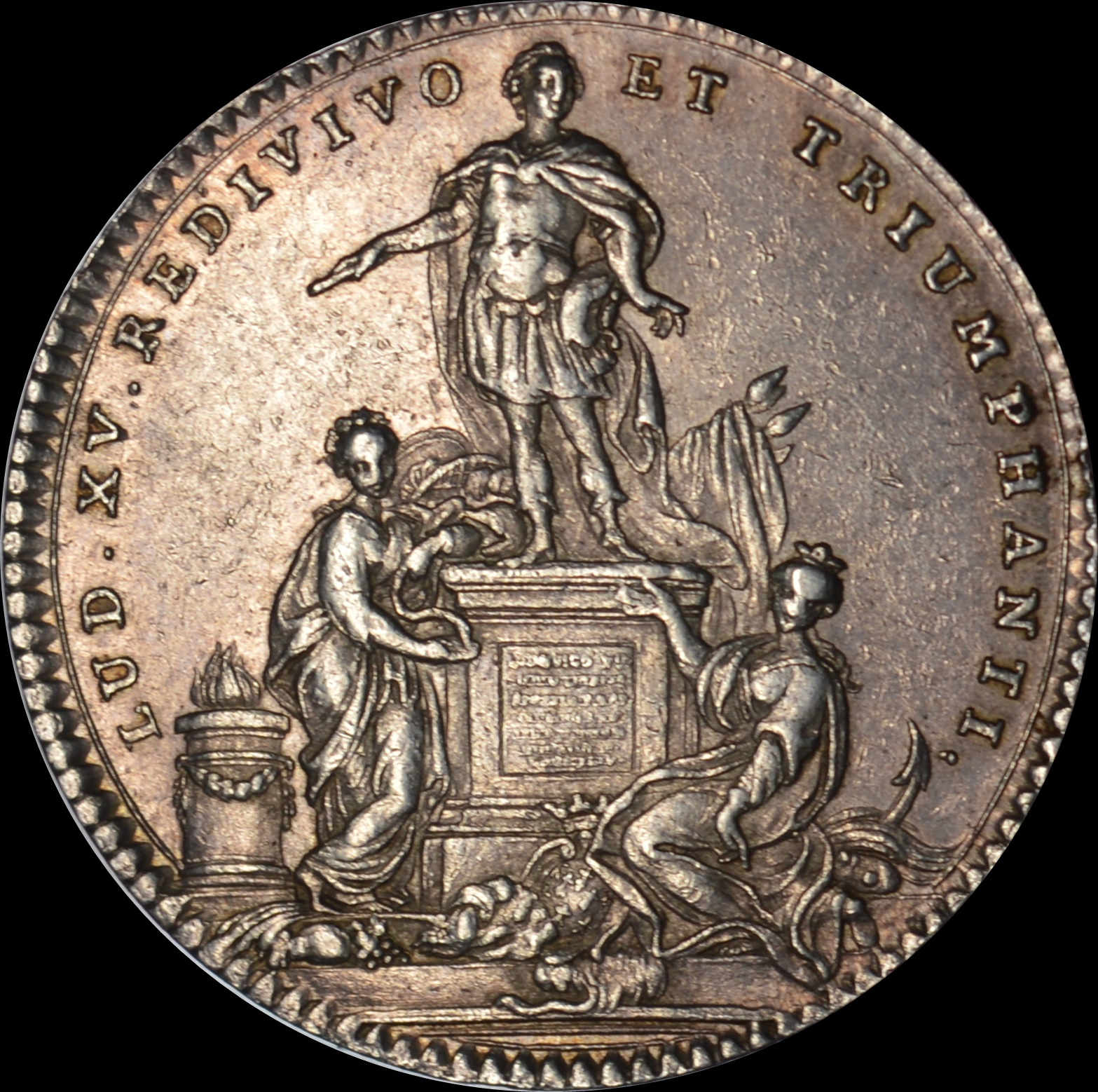 Louis XV - 1754 statue of Louis XV in Brittany silver medal