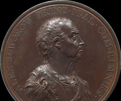 Count Suvorov 1799 Victory against Napoleon in Italy medallion by Kuchler