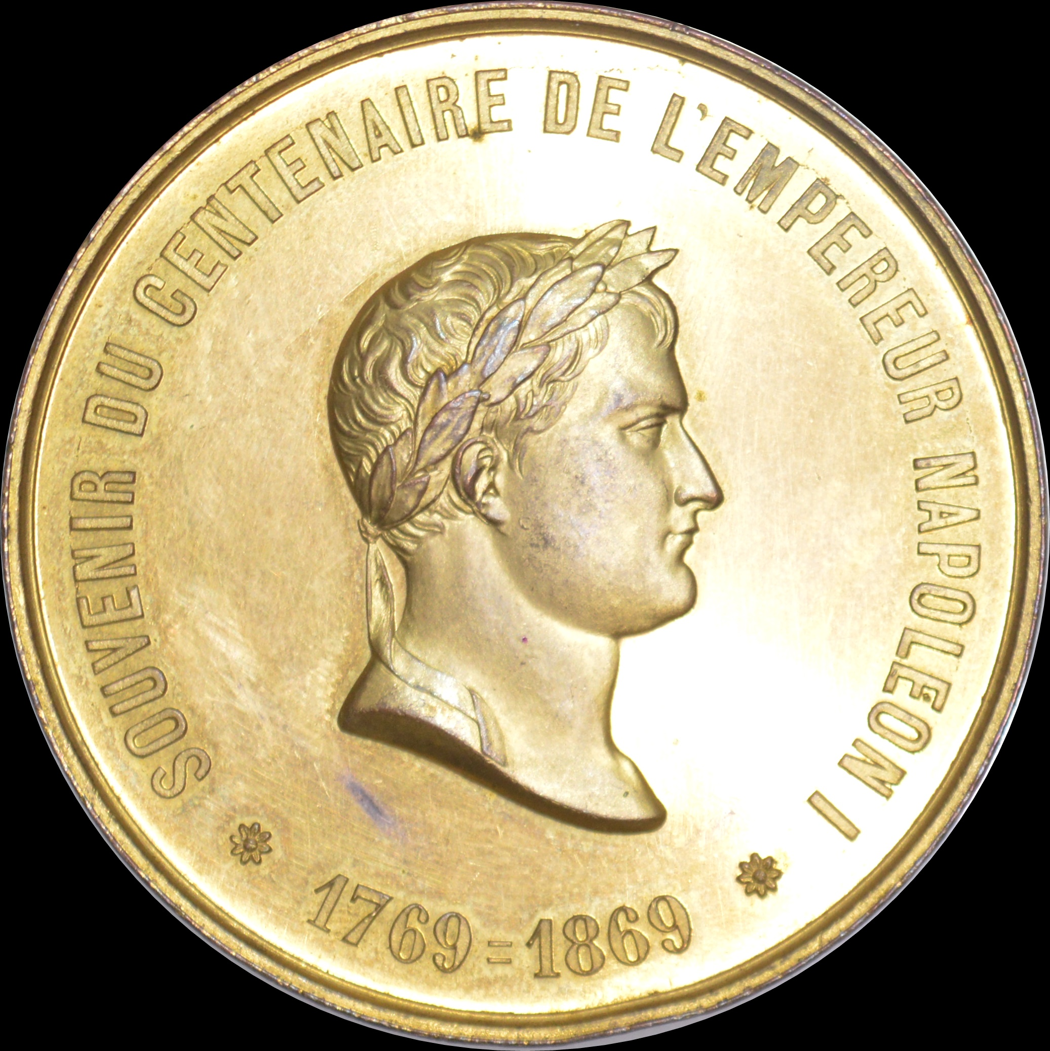 France - 1869 Centenary of the Birth of Napoleon gilt bronze medallion