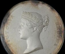 Queen Victoria - 1837 Uniface frosted silver cliche medallion in glazed lunette, cased for sale